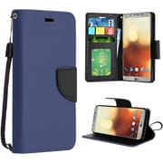 Insten Book-Style Leather Fabric Cover Case Lanyard w/stand/card slot/Photo Display For LG G6 - Dark Blue