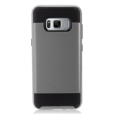 Insten Brushed Metal Hybrid Hard Chrome Dual Layer Cover Case For Samsung Galaxy S8 - Gray/Black