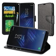 Insten Carbon Fiber Design Leather Wallet Flip Card Stand Case For Samsung Galaxy S8+ S8 Plus - Black
