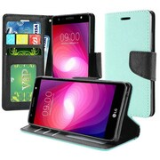 Insten PU Leather Bling Flip Credit Card Wallet Stand Pouch Case For LG X Power 2 - Teal