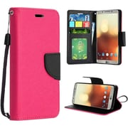 Insten Flip Leather Fabric Case w/stand/card slot/Photo Display For LG G6 - Hot Pink