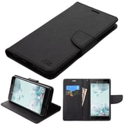 Insten Liner MyJacket Leather Wallet Credit Card Stand Case For HTC U Ultra - Black