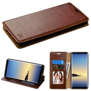 Insten Folio Leather Fabric Cover Case w/stand/card slot/Photo Display For Samsung Galaxy Note 8 - Brown
