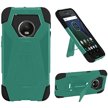 Insten Hybrid Dual Layer PC/Silicone T Kickstand Case Cover For Motorola Moto G5 Plus - Teal/Black