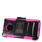 Insten Advanced Armor Dual Layer Hybrid Stand PC/Silicone Holster Case Cover for Motorola Moto E4 - Black/Hot Pink