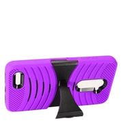 Insten Wave Symbiosis Skin Hybrid Rubber Hard Cover Case w/stand For ZTE Max XL N9560 - Purple