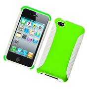 Insten Dual Layer Hybrid PC/TPU Rubber Case Cover For Apple iPod Touch 4th Gen - Green/White