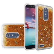 Insten Liquid Quicksand Glitter Fused Hybrid Hard PC/TPU Cover Case For ZTE N9136 - Gold