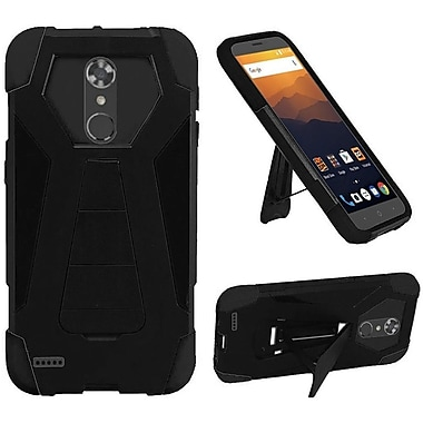 Insten T-Stand Hard Rubberized Silicone Case w/stand For ZTE Max XL N9560 - Black