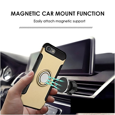 Insten Carbon Edge with Circo Magstand Dual Layer Hybrid Ring stand PC/Silicone Case for Apple iPhone 7 - Gold/Black