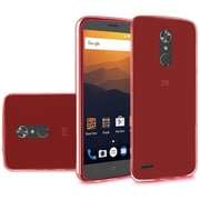 Insten TPU Rubber Candy Skin Back Gel Case Cover For ZTE Max XL N9560 - Clear Red