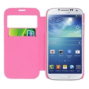 Insten Smart Cover Leather Flip Case Cover with Call Activate For Samsung Galaxy S4 - Pink