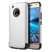 Insten Hybrid Dual Layer PC/TPU Rubber Shockproof Case Cover For Motorola Moto G5 Plus - Silver