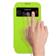 Insten Smart Cover Leather Flip Case Cover with Call Activate For Samsung Galaxy S4 - Green