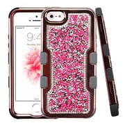 Insten Mini Crystals TUFF Vivid Hybrid PC/TPU Dual Layer Case For Apple iPhone SE / 5 / 5S - Hot Pink