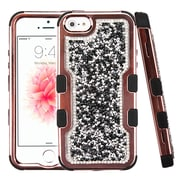 Insten Mini Crystals TUFF Vivid Hybrid PC/TPU Dual Layer Case For Apple iPhone SE / 5 / 5S - Black
