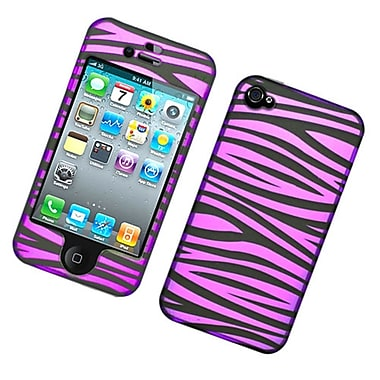 Insten Zebra Hard Snap-in Protective Back Case Cover For Apple iPhone 4 / 4S - Hot Pink/Black