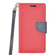 Insten Folio Leather Fabric Case Lanyard w/stand/card holder/Photo Display For ZTE Prestige 2 N9136 - Red/Blue