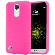 Insten Rugged Silicone Rubber Skin Soft Back Gel Case Cover For LG Harmony / K20 Plus / K20 V - Hot Pink