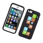 Insten Checker Rubber Silicone Skin Gel Back Case Cover For Apple iPhone 5 / 5C / 5S - Black