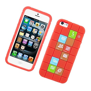 Insten Checker Rubber Silicone Skin Gel Back Case Cover For Apple iPhone 5 / 5C / 5S - Red