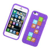 Insten Checker Rubber Silicone Skin Gel Back Case Cover For Apple iPhone 5 / 5C / 5S - Purple