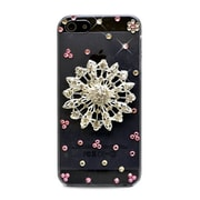 Insten 3D Circle Flower Rhinestone Diamond Bling Hard Snap-in Case Cover For Apple iPhone 5 / 5S - Clear/Silver