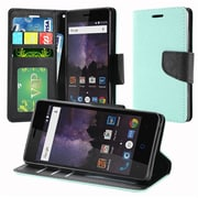 Insten PU Leather Wallet Credit Card Flip Stand Cover Case For ZTE Tempo - Teal/Black
