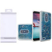 Insten Liquid Quicksand Glitter Fused Hybrid Hard PC/TPU Case with Package For ZTE N9136 - Light Blue