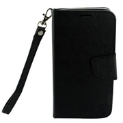 Insten Book-Style Leather Fabric Cover Case Lanyard w/stand/card slot/Photo Display For Motorola Moto G5 Plus - Black