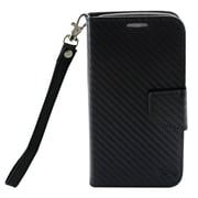 Insten Carbon Fiber Flip Leather Fabric Cover Case Lanyard w/stand/card holder For Motorola Moto G5 Plus - Black
