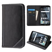Insten Genuine Leather MyJacket Wallet ID/Card Slot Stand Case Cover For LG Stylo 3 / Stylo 3 Plus - Black