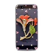 Insten 3D Morning Glory Rhinestone Diamond Bling Hard Case Cover For Apple iPhone 5 / 5S - Clear/Red