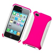 Insten Dual Layer Hybrid PC/TPU Rubber Case Cover For Apple iPod Touch 4th Gen - Hot Pink/White