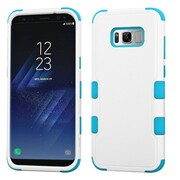 Insten TUFF [Shock Absorbing] Hybrid PC/Silicone Cover Case For Samsung Galaxy S8 - Natural Ivory White/Teal