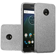 Insten Hybrid Clear PC/TPU Case Cover with Glitter Paper For Motorola Moto G5 Plus - Smoke