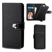 Insten Detachable Magnetic 2-in-1 Wallet Back Cover Leather Flip Case For Apple iPhone 7 Plus/6s Plus/6 Plus - Black