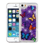 Insten Quicksand Glitter Butterfly Dancing PC/TPU Rubber Case Cover for Apple iPhone 5/5S/SE - Purple