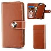 Insten Detachable Magnetic Folio Flip Leather Wallet Flap Pouch Case Cover for Apple iPhone 6/6s/7 - Brown