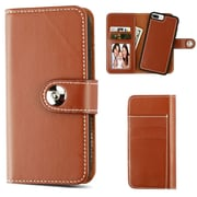 Insten Detachable Magnetic Folio Flip Leather Wallet Flap Pouch Case for Apple iPhone 6 Plus/6s Plus/7 Plus - Brown