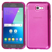 Insten Transparent Sheer Glitter Premium TPU Case For Galaxy Amp Prime 2/Express Prime 2/J3 (2017)/J3 Prime - Hot Pink