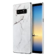 Insten Marble TPU Rubber Candy Skin Case Cover for Samsung Galaxy Note 8 - White