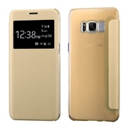 Insten Silk Texture MyJacket Leather Flip Case (with Frosted Tray) For Samsung Galaxy S8+ S8 Plus - Gold