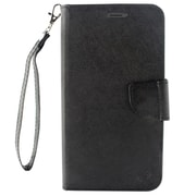 Insten Flip Leather Fabric Case Lanyard w/stand/card slot/Photo Display For ZTE Max XL N9560 - Black