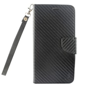 Insten Carbon Fiber Book-Style Leather Fabric Cover Case Lanyard w/stand/card holder For ZTE Max XL N9560 - Black