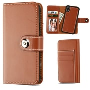 Insten Detachable Magnetic Folio Flip Leather Wallet Flap Pouch Case Cover for Apple iPhone X - Brown