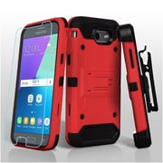 Insten 3-in-1 Kinetic Hybrid Holster Case  + Glass Protector For Galaxy Amp Prime 2/Express Prime 2/J3 (2017) - Red