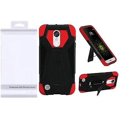 Insten Hybrid Dual Layer T Kickstand Hard PC/Silicone Case Cover with Package For LG K20 Plus / K20 V / V5 - Black/Red