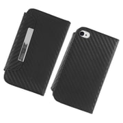 Insten Carbon Fiber Folio Leather Fabric Cover Case w/stand/card slot/Photo Display For Apple iPhone 4/4S - Black