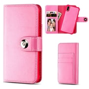 Insten Detachable Magnetic Folio Flip Leather Wallet Flap Pouch Case Cover for Apple iPhone X - Hot Pink